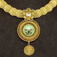 Lotus Enamel Designer Necklace Set