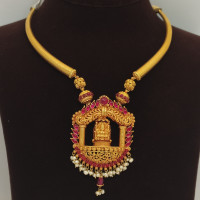 Lakshmi And Pink Stone Necklace