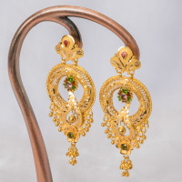 Round Floral Cz Earrings