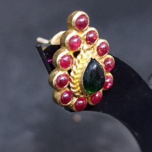 Red And Green Stone Earring