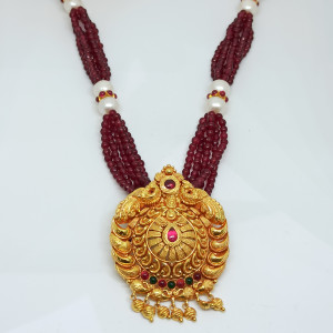 Pink Beads Temple Necklace