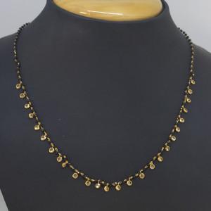 Black Bead With Cz Chain