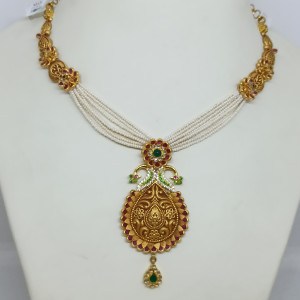 Peacock Antique Moti Mala Necklace