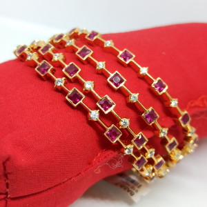 Pink Stone Cz Bangles