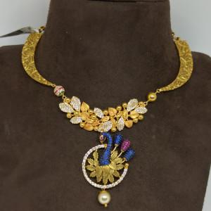 Peacock Cz Necklace Earrings Set