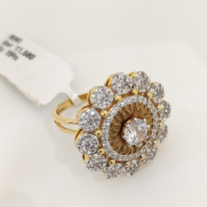Floral Cz Cocktail Ring