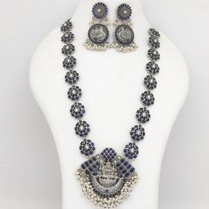 Blue Stone Peacock And Lakshmi Necklace