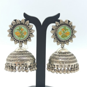 Floral Oxidized Drop Earrings