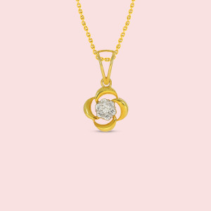 18kt Yellow Gold And  Real Diamond Pendant