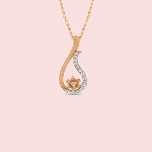 Rose Gold Flower Shape Real Diamond Pendant