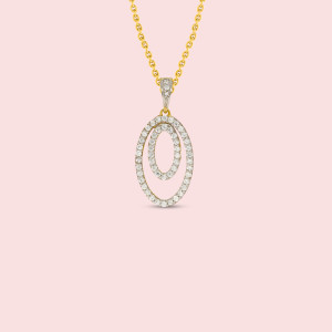 Oval Shape Real Diamond Pendant