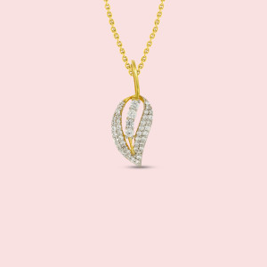 18kt Yellow Gold Leaf Shape Real Diamond Pendant