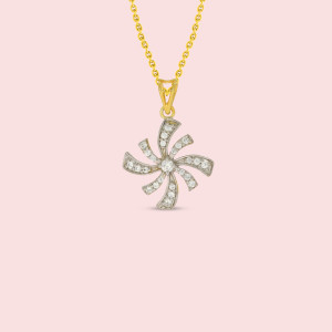 18kt Flower Shape Real Diamond Pendant