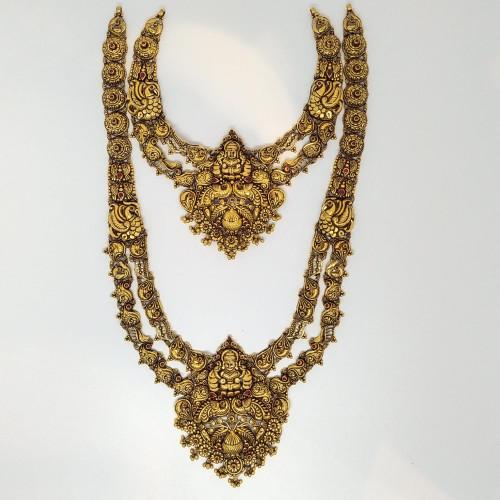 Mango Antique Lakshmi Haram And Necklace Set