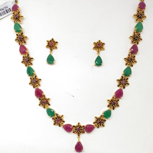 Ruby And Emerald Flower Nacklace