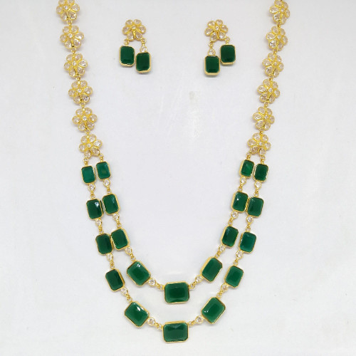 Emerald And Polki Necklace Sets