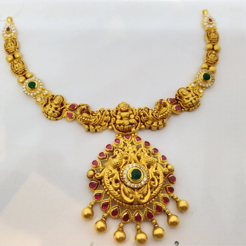 Ruby And Emerald Antique Lakshmi Nacklace