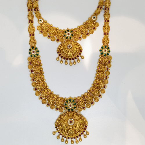 Red Antique Ruby And Emerald Haram Sets