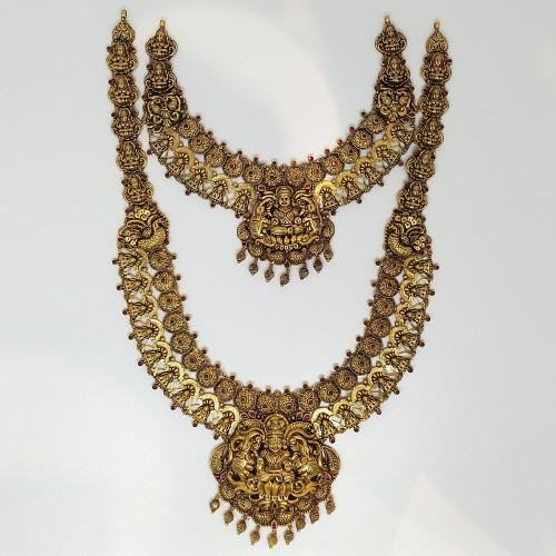 Ruby Antique Lakshmi Haram And Necklace Set