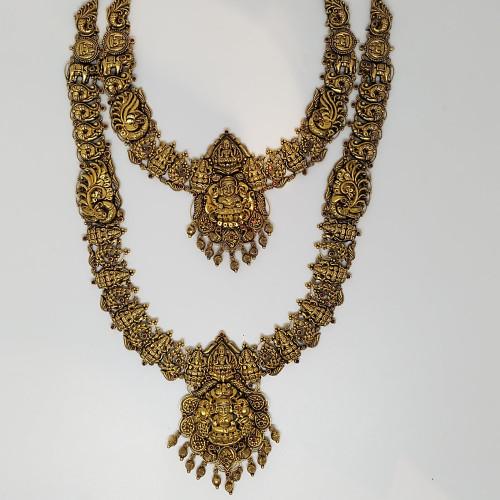 Antique Full Lakshmi Haram And Necklace Set