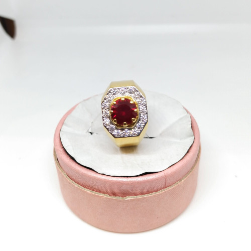 Red Ruby And White Stone Fancy Ring
