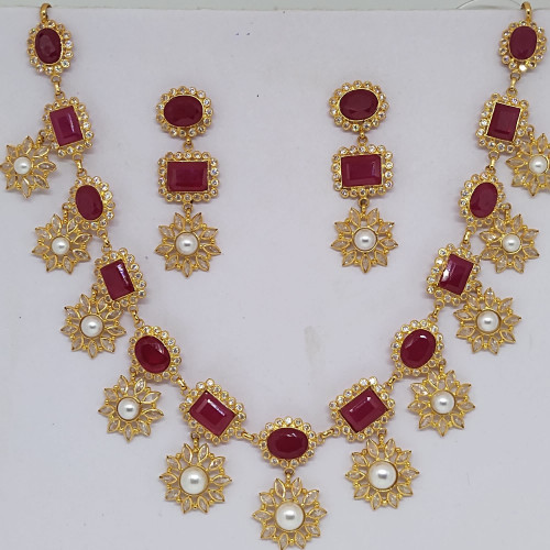 Ruby And Polki Necklace Sets