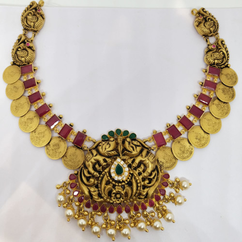 Ruby And Pearl Lakshmi Nacklace