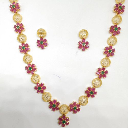 Ruby And Emerald Fancy Nacklace Sets