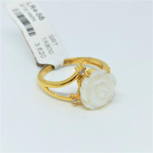 Pearl Lotus Cz Ring