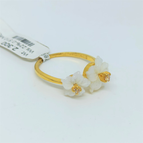 Two Floral Pearl Cz Ring