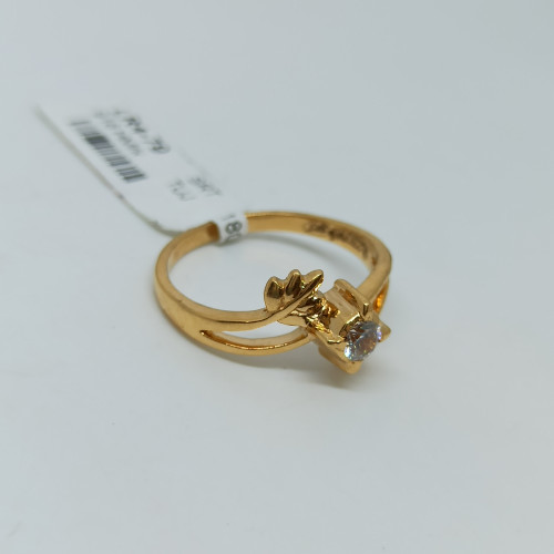 Leaf Design Cz Ring