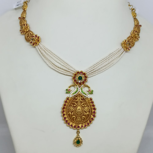 Peacock Antique Moti Mala Necklace