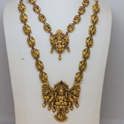 Lakshmi Antique Haram And Necklace