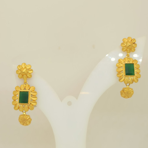 Green Stone With  Flower Earring