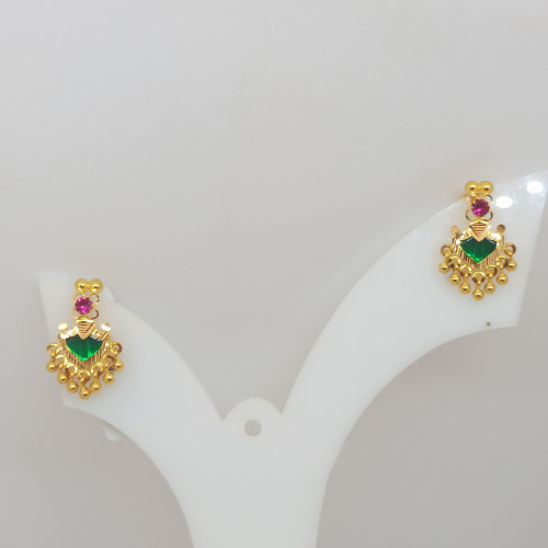 Green And Pink Stone Earring