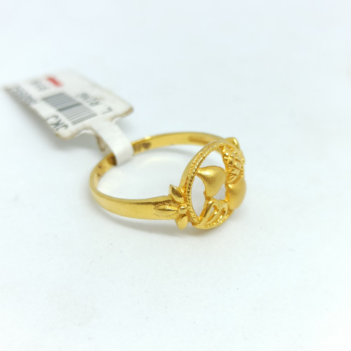 Heart Floral Plain Gold Ring
