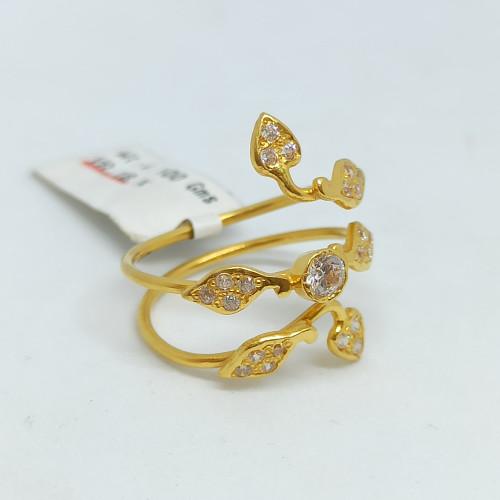 Spiral Leaf Cz Ring