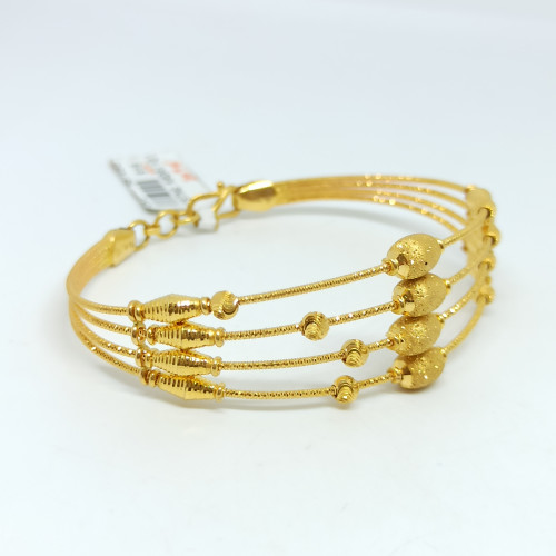 Oval Bead Plain Gold Kada