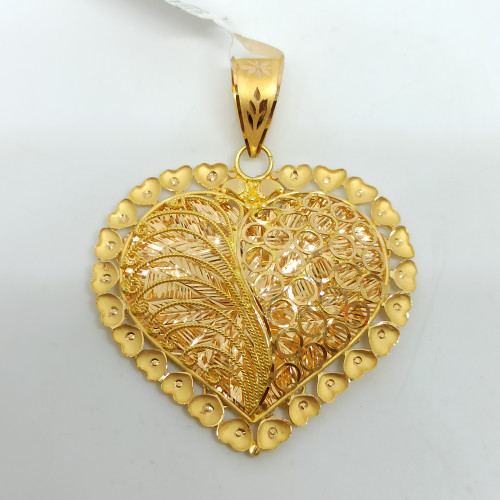 Heart Plain Gold Jali Pendant
