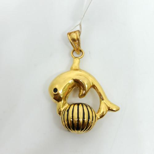 Dolphin Plain Gold Pendant