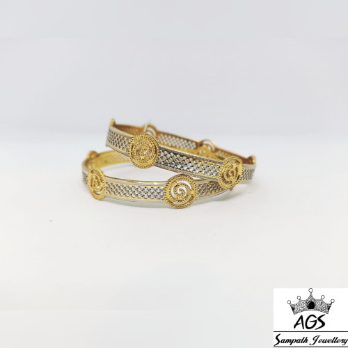 Fancy Rhodium With Yellow Gold Bangle