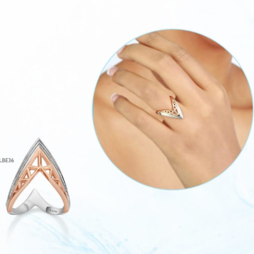 Stylish Rose Gold And White Gold Ring