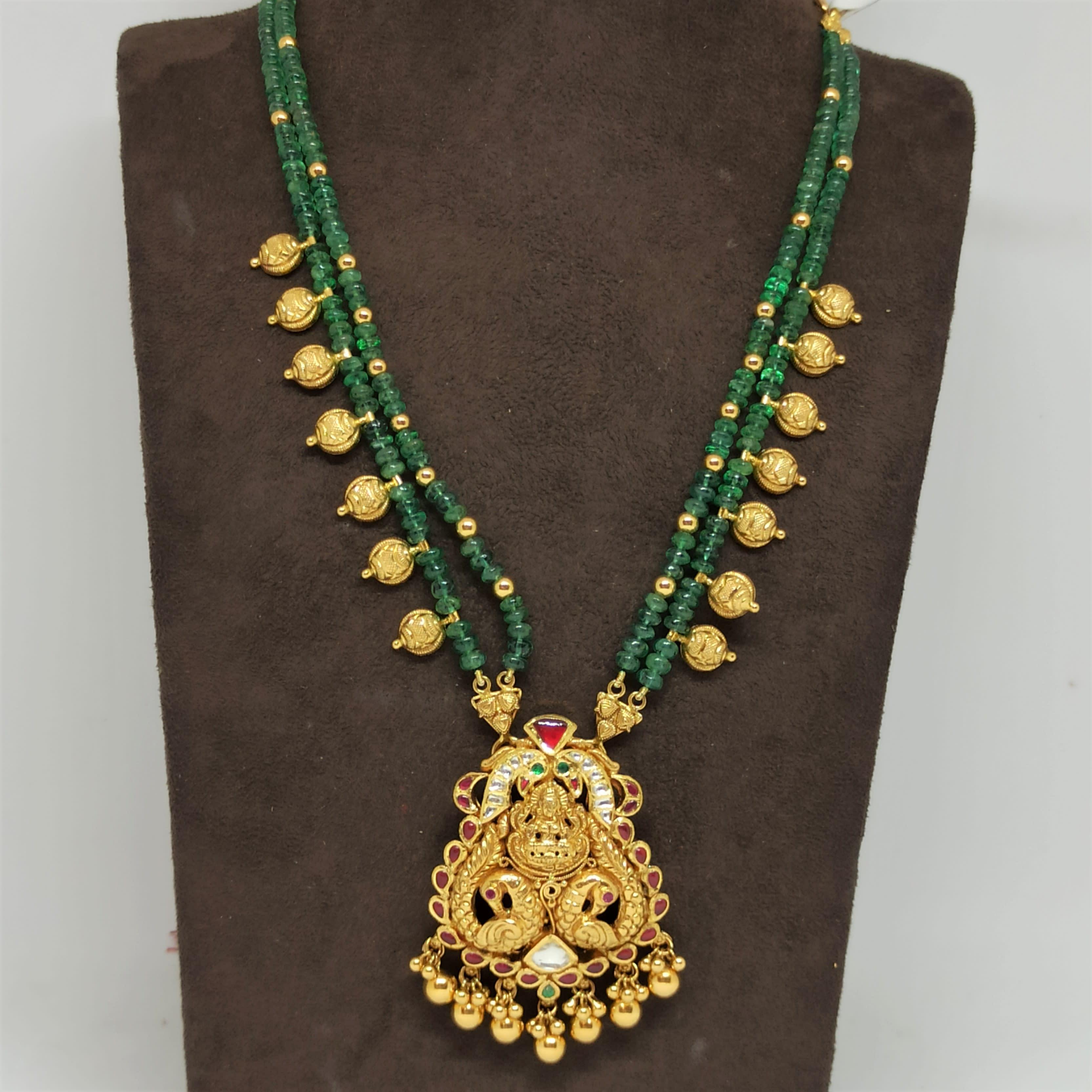 Lakshmi Mayura Green Mala Necklace