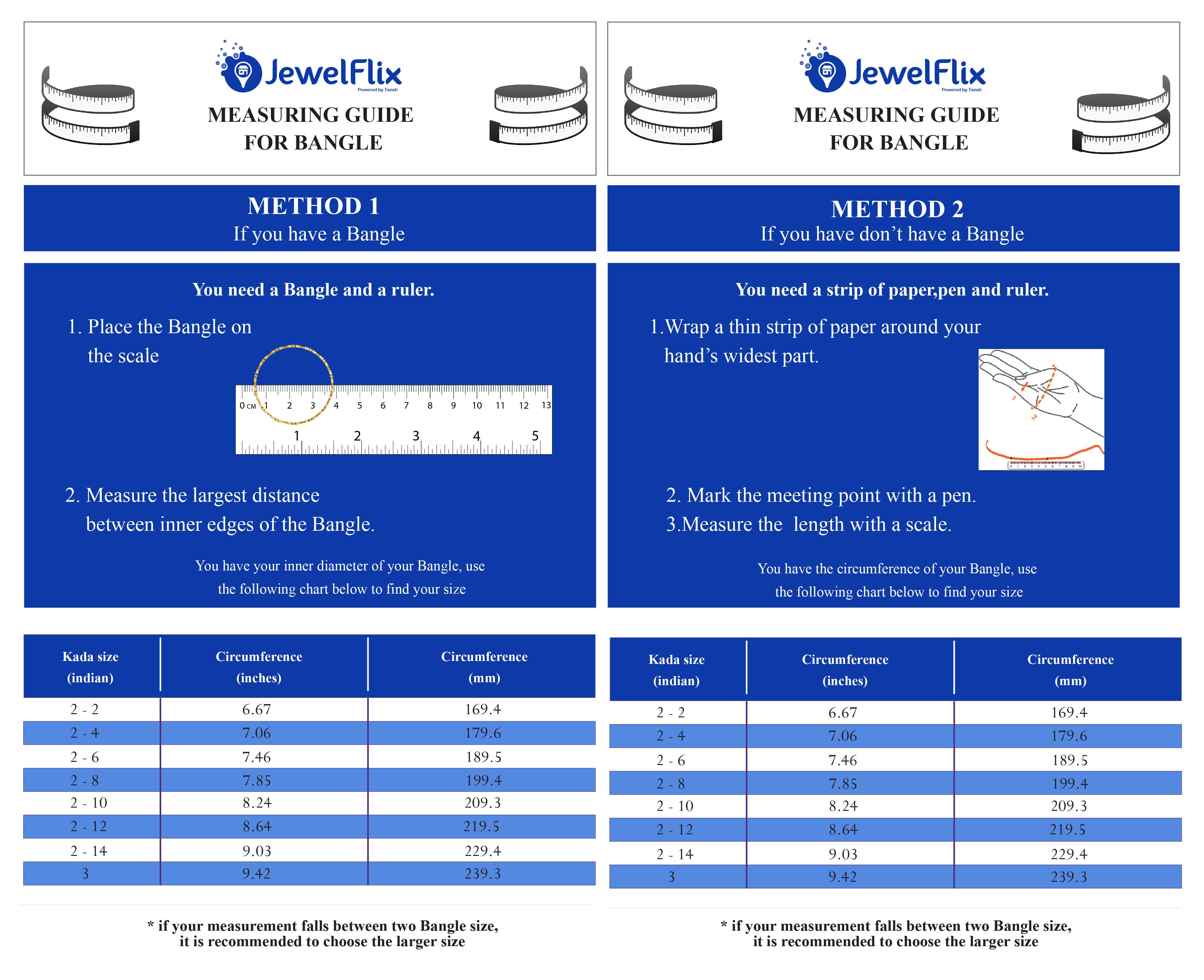 Measuring Guide for Bangles