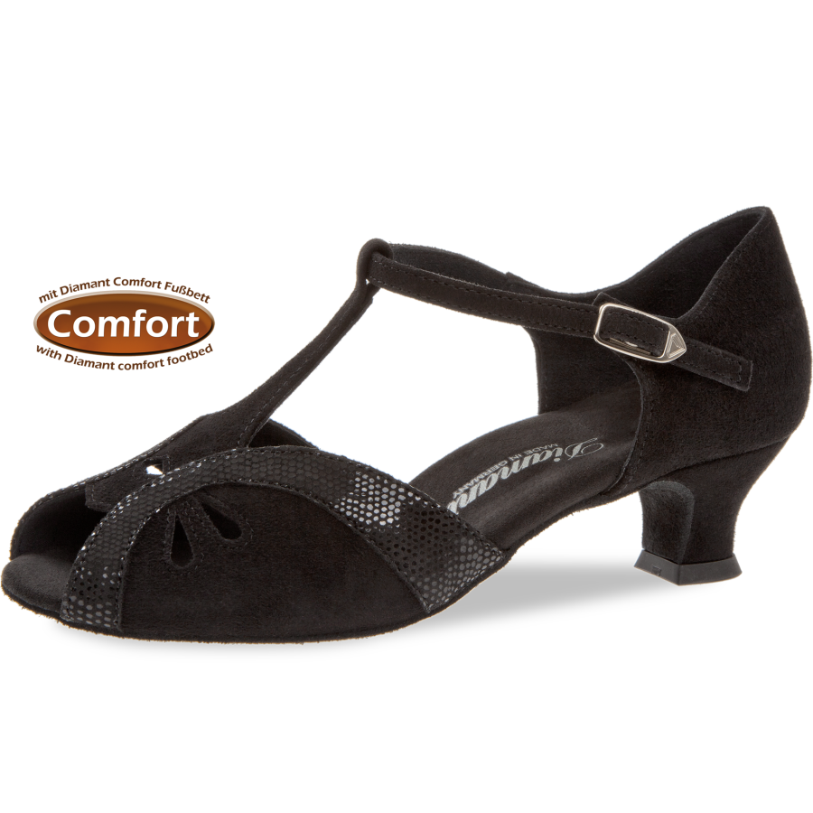 4 Python Cm Mit Spanish Damen 2 Schwarz Fußbett Tanzschuhe Normalweite Velour Print Comfort Mod019 Absatz Weite F ED29YHIWe