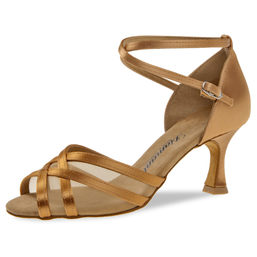 Mod. 035 Damen Tanzschuhe Weite F Normalweite Flare Absatz 6,5 cm bronze Satin