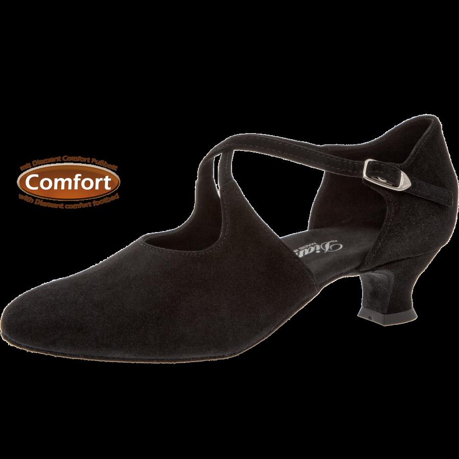 Mod. 052 Damen Tanzschuhe Weite H für breite Füße mit Comfort Fußbett Spanish Absatz 4,2 cm schwarz Velourleder