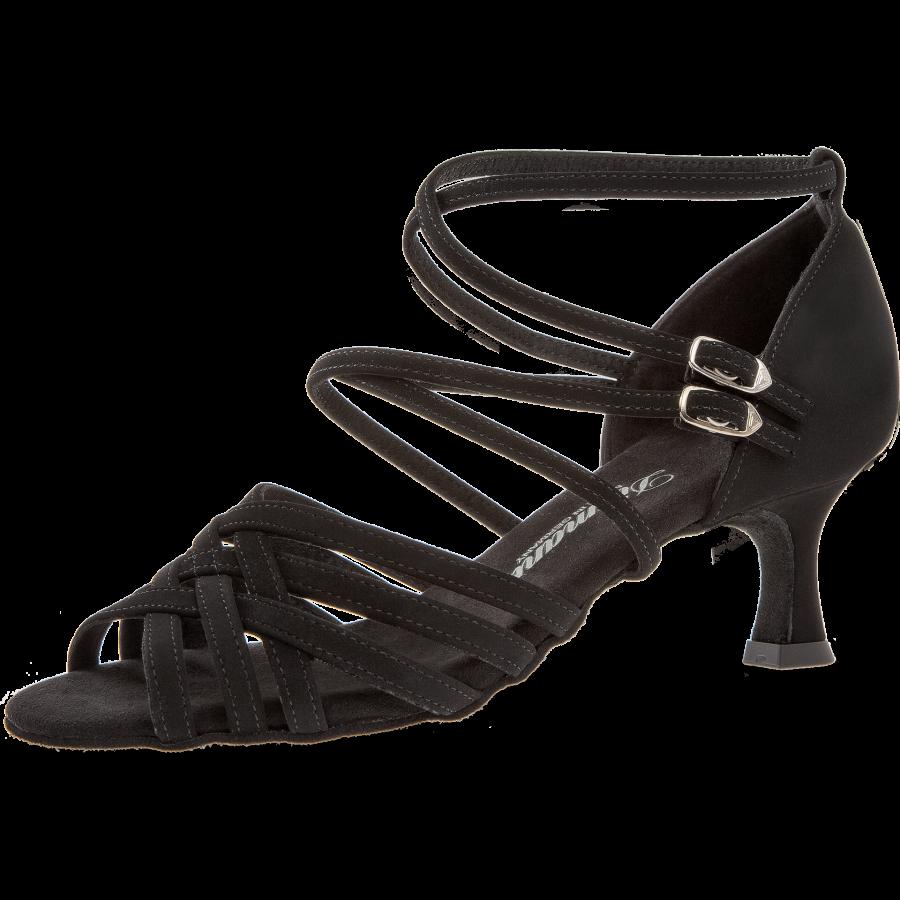 Mod. 108 mit 2 Fersenriemchen Damen Tanzschuhe Weite F Normalweite Latino Absatz 5 cm schwarz Nubuk Synth.
