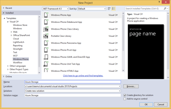 Create Windows Phone 8 Project
