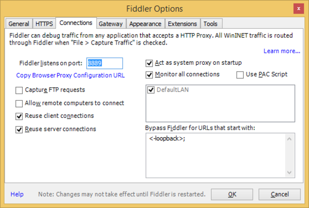 Fiddler settings Connections tab